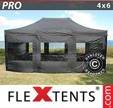 Racing tent PRO 4x6 m Black, incl. 8 sidewalls