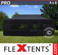 Racing tent PRO 4x8 m Black, incl. 6 sidewalls