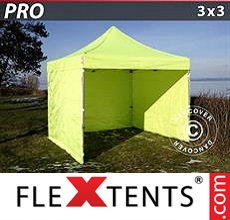Racing tent PRO 3x3 m Neon yellow/green, incl. 4 sidewalls