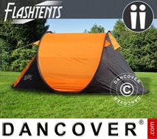 Camping tents pop-up, FlashTents®, 2 persons, Orange/Dark Grey