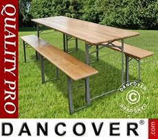 Beer Table Set, 220x60x76cm, Light wood
