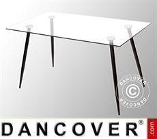 Dining table, Bologna, 140x80x75 cm, Clear/Black