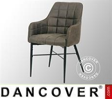 Dining chair with armrests, Milano, Grey/Black, 2 pcs.