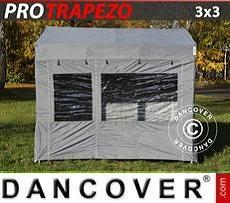 Pop up gazebo FleXtents PRO Trapezo 3x3m Grey, incl. 4 sidewalls