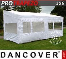 Pop up gazebo FleXtents PRO Trapezo 3x6m White, incl. 4 sidewalls