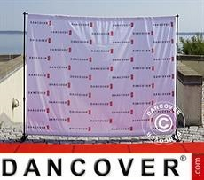 Backdrop stand w/digital print, 300x240cm, Black