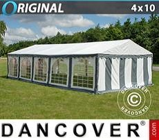 Party Marquee Original 4x10 m PVC, Grey/White