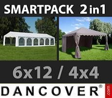 Party Marquee Exclusive 6x12m, White/Gazebo 4x4m,