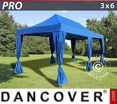 Party Marquee PRO 3x6 m Blue, incl. 6 decorative curtains