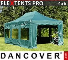 Party Marquee PRO 4x6 m Green, incl. 8 sidewalls