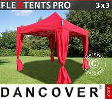 Party Marquee PRO 3x3 m Red, incl. 4 decorative curtains