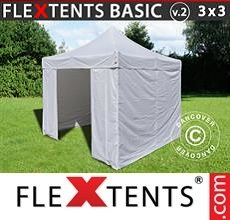 Pop up canopy Basic v.2, 3x3 m White, incl. 4 sidewalls