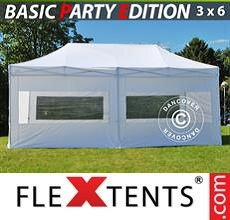 Pop up canopy Basic v.2, 3x6 m White, incl. 6 sidewalls
