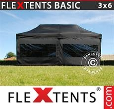 Pop up canopy Basic v.2, 3x6 m Black, incl. 6 sidewalls