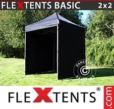 Pop up canopy Basic v.2, 2x2 m Black, incl. 4 sidewalls