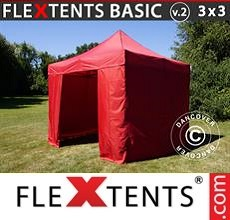 Pop up canopy Basic v.2, 3x3 m Red, incl. 4 sidewalls