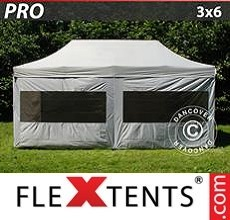 Pop up canopy PRO 3x6 m silver, incl. 6 sidewalls