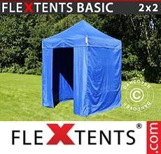 Pop up canopy Basic v.2, 2x2 m Blue, incl. 4 sidewalls