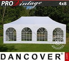 Pop Up Marquee PRO Vintage Style 4x8 m White, incl. 6 sidewalls