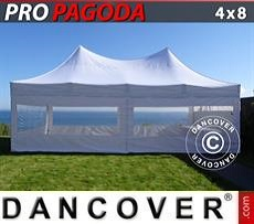 Pop Up Marquee PRO Peak Pagoda 4x8 m White, incl. 6 sidewalls