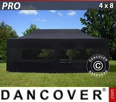 Pop Up Marquee PRO 4x8 m Black, incl. 6 sidewalls
