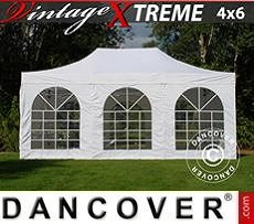 Pop Up Marquee Xtreme Vintage Style 4x6 m White, incl. 8 sidewalls