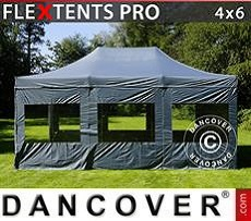 Pop Up Marquee PRO 4x6 m Grey, incl. 8 sidewalls