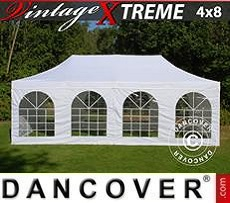 Pop Up Marquee Xtreme Vintage Style 4x8 m White, incl. 6 sidewalls