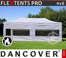 Pop Up Marquee  PRO 4x8 m White, Flame retardant, incl. 4 sidewalls