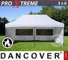 Pop Up Marquee Xtreme 3x6 m White, Flame retardant, incl. 6 sidewalls
