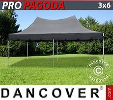 Pop Up Marquee PRO Peak Pagoda 3x6 m Black, incl. 6 sidewalls