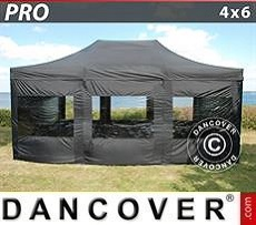 Pop Up Marquee PRO 4x6 m Black, incl. 8 sidewalls