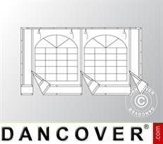 Endwall w/large window and wide door, 4m, PVC, White/Grey