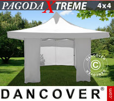 Pop up gazebo FleXtents Pagoda Xtreme 4x4 m / (5x5 m) White, incl. 4 sidewalls