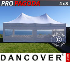 Pop up gazebo FleXtents PRO Peak Pagoda 4x8 m White, incl. 6 sidewalls