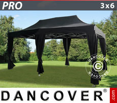 FleXtents Pop Up Marquees - Pop up gazebo FleXtents PRO 3x6 m Black, incl. 6 decorative curtains