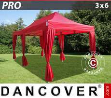 FleXtents Pop Up Marquees - Pop up gazebo FleXtents PRO 3x6 m Red, incl. 6 decorative curtains