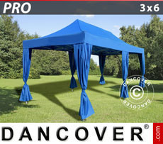 Pop up gazebo FleXtents PRO 3x6 m Blue, incl. 6 decorative curtains