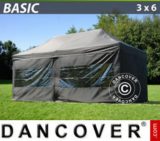 Pop up gazebo FleXtents Basic 3x6 m Black, incl. 6 sidewalls