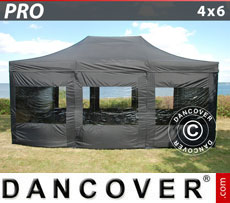 Pop up gazebo FleXtents PRO 4x6 m Black, incl. 8 sidewalls