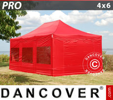 Pop up gazebo FleXtents PRO 4x6 m Red, incl. 8 sidewalls