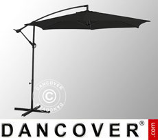 Hanging parasol, Ø 3 m, Black, incl. cross base