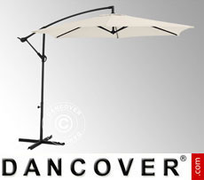 Hanging parasol, Ø 3 m, White, incl. cross base