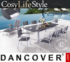Garden furniture set, CosyLifeStyle, 1 table & 6 chairs, Black