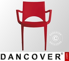 Chair with armrests, Paris, Red, 6 pcs.