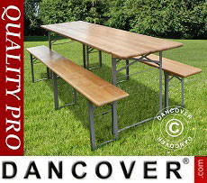 Beer Table Set, 240x60x76cm, Light wood