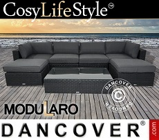 Poly rattan Lounge Set I, 7 modules, Modularo, Black