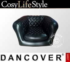 Inflatable armchair, Chesterfield style, Black