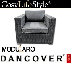 Poly rattan armchair for Modularo, Grey