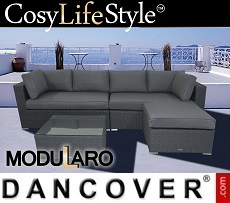 Poly rattan Lounge Set III, 4 modules, Modularo, Grey